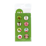 American Crafts - Flair - Christmas - 8 Adhesive Badges - Egg Nog, CLEARANCE