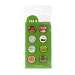 American Crafts - Flair - Christmas - 8 Adhesive Badges - Santa's Cookies, CLEARANCE