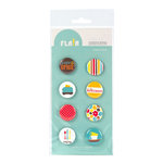 American Crafts - Abode Collection - Flair - 8 Adhesive Badges - Sugar and Spice, CLEARANCE