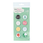 American Crafts - Dear Lizzy Spring Collection - Flair - 8 Adhesive Badges - Smiley, CLEARANCE