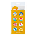 American Crafts - Heat Wave Collection - Flair - 8 Adhesives Badges - Day In The Sun, CLEARANCE