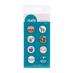American Crafts - Confetti Collection - Flair - 8 Adhesive Badges - Hooray!