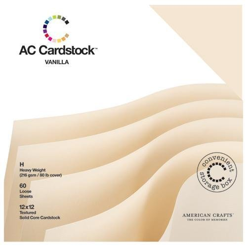American Crafts - 12 x 12 Cardstock Pack - 60 Sheets - Vanilla