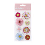 American Crafts - Hello Sunshine Collection - Delights - 3 Dimensional Stickers - Pinwheel Flowers