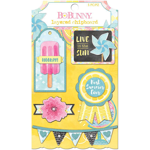 BoBunny - Summer Mood Collection - Layered Chipboard Stickers
