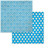 Bo Bunny - Double Dot Damask Collection - 12 x 12 Double Sided Paper - Brilliant Blue