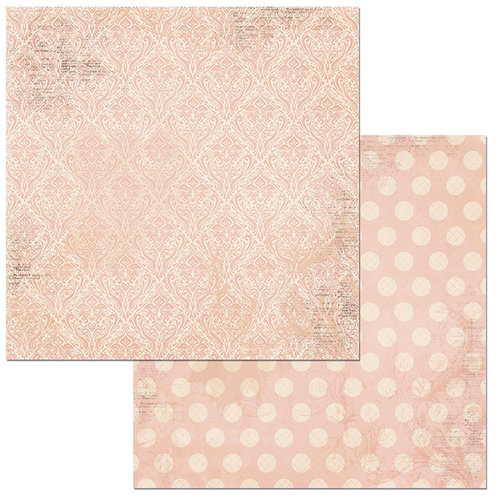 BoBunny - Double Dot Damask Collection - 12 x 12 Double Sided Paper - Dusty Rose