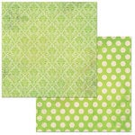 Bo Bunny - Double Dot Damask Collection - 12 x 12 Double Sided Paper - Kiwi