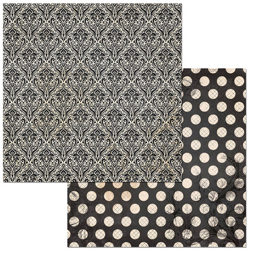 Bo Bunny - Double Dot Damask Collection - 12 x 12 Double Sided Paper - Licorice