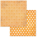 Bo Bunny - Double Dot Damask Collection - 12 x 12 Double Sided Paper - Orange Citrus