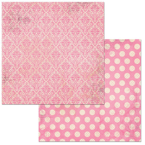 Bo Bunny - Double Dot Damask Collection - 12 x 12 Double Sided Paper - Passion Fruit