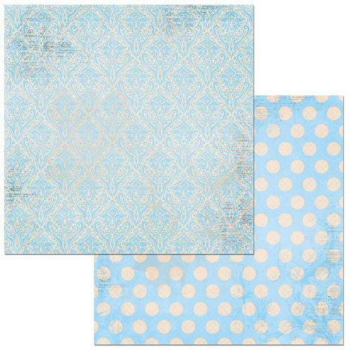 Bo Bunny - Double Dot Damask Collection - 12 x 12 Double Sided Paper - Powder Blue