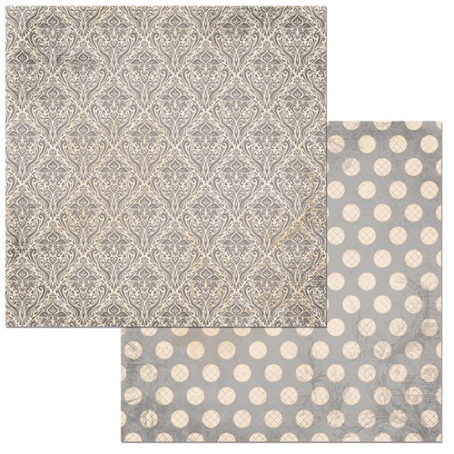 Bo Bunny - Double Dot Damask Collection - 12 x 12 Double Sided Paper - Shadow