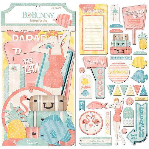 BoBunny - Escape to Paradise Collection - Noteworthy Journaling Cards