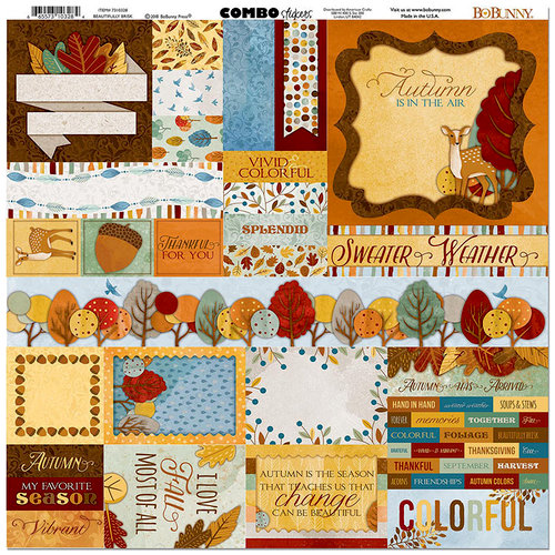 BoBunny - Beautifully Brisk Collection - 12 x 12 Cardstock Stickers - Combo