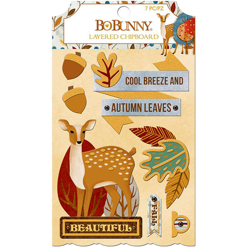 BoBunny - Beautifully Brisk Collection - Layered Chipboard Stickers