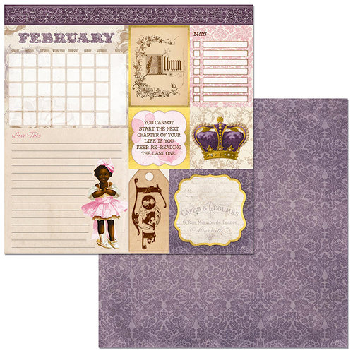 BoBunny - Banner Year Collection - 12 x 12 Double Sided Paper - February