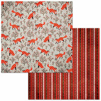 BoBunny - Winter Getaway Collection - 12 x 12 Double Sided Paper - Foxes