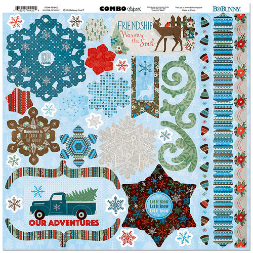 BoBunny - Winter Getaway Collection - 12 x 12 Cardstock Stickers - Combo