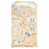 Bo Bunny - Harmony Collection - Layered Chipboard Stickers with Glitter Accents