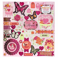 Bo Bunny - Sweet Clementine Collection - 12 x 12 Chipboard Stickers with Foil Accents