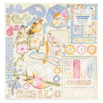 Bo Bunny - Harmony Collection - 12 x 12 Chipboard Stickers with Foil Accents