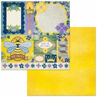 Bo Bunny - Bee-utiful You Collection - 12 x 12 Double Sided Paper - Bees Knees