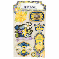Bo Bunny - Bee-utiful You Collection - Layered Chipboard Stickers with Glitter Accents