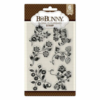 BoBunny - Sweet Moments Collection - Clear Acrylic Stamps - Floral Flourishes