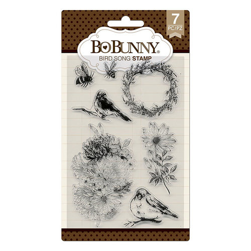 BoBunny - Secret Garden Collection - Clear Acrylic Stamps - Bird Song
