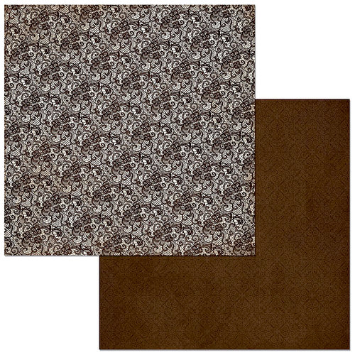 BoBunny - Double Dot Designs Collection - 12 x 12 Double Sided Paper - Lace - Coffee