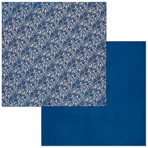 Bo Bunny - Bee-utiful You Collection - 12 x 12 Double Sided Paper - Double Dot - Lace - Dark Denim