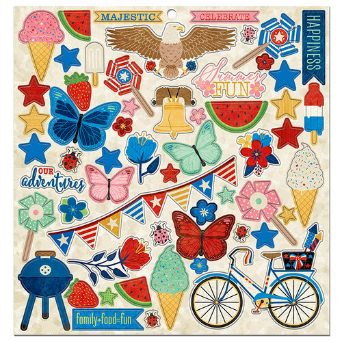 BoBunny - Celebrating Freedom Collection - 12 x 12 Chipboard Stickers with Foil Accents