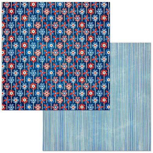 BoBunny - Celebrating Freedom Collection - 12 x 12 Double Sided Paper - Pinwheel