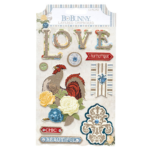 BoBunny - Boulevard Collection - Layered Chipboard Stickers with Glitter Accents