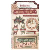 Bo Bunny - Christmas Treasures - Layered Chipboard Stickers With Glitter Accents