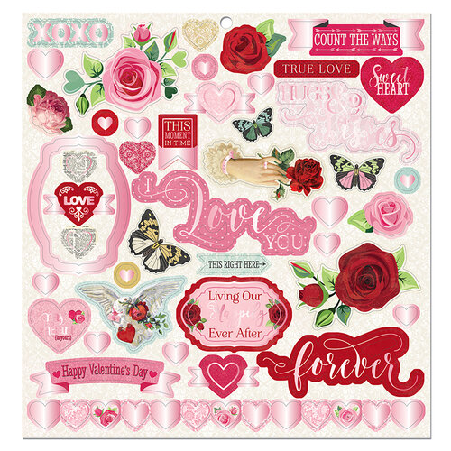 Bo Bunny - Count The Ways Collection - 12 x 12 Chipboard Stickers with Pink Foil Accents