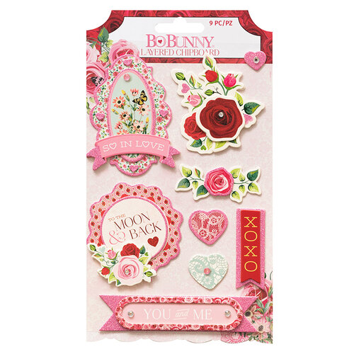 Bo Bunny - Count The Ways Collection - Layered Chipboard Stickers - Jewels and Pink Glitter