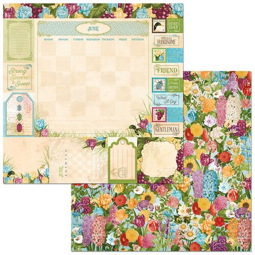 BoBunny - Time And Place Collection - 12 x 12 Double Sided Paper - June