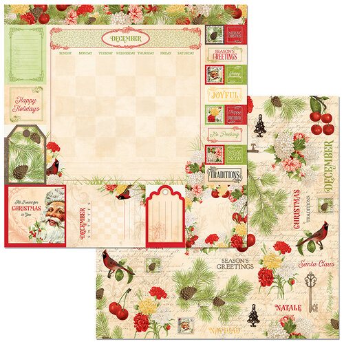BoBunny - Time And Place Collection - 12 x 12 Double Sided Paper - December