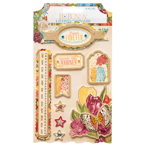 BoBunny - Time And Place Collection - Stickers - Layered Chipboard - Gold Glitter