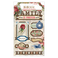 BoBunny - Family Heirlooms Collection - Layered Chipboard Stickers with Iridescent Jewel and Copper Glitter Accents