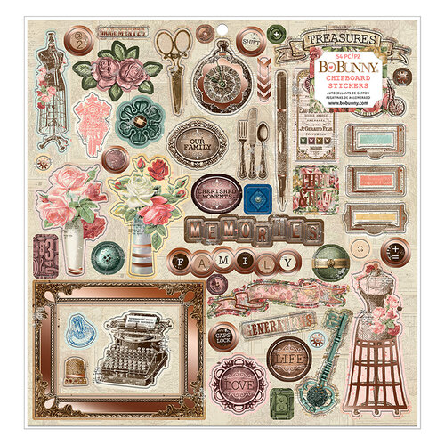 BoBunny - Family Heirlooms Collection - 12 x 12 Chipboard Stickers with Copper Foil Accents
