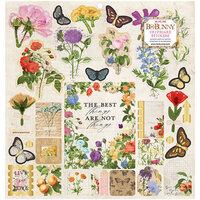 BoBunny - Botanical Journal Collection - 12 x 12 Chipboard Stickers with Gold Foil Accents