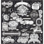 BoBunny - Tuxedos and Tiaras Collection - 12 x 12 Chipboard Stickers with Foil Accents