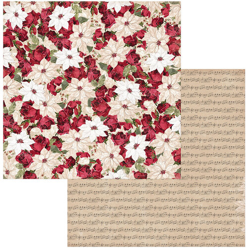 BoBunny - Joyful Christmas Collection - 12 x 12 Double Sided Paper - Poinsettia
