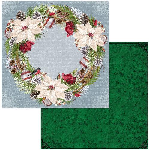 BoBunny - Joyful Christmas Collection - 12 x 12 Double Sided Paper - Wreath