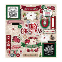 BoBunny - Joyful Christmas Collection - 12 x 12 Chipboard Stickers with Red Foil