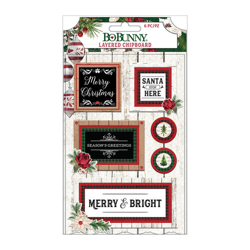 BoBunny - Joyful Christmas Collection - Layered Chipboard Stickers with Red Glitter