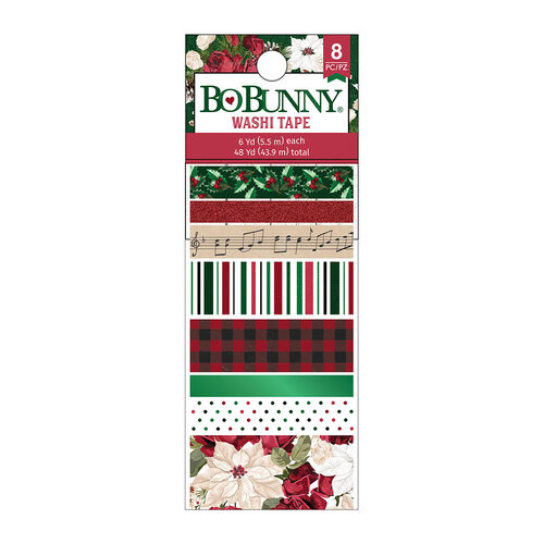 BoBunny - Joyful Christmas Collection - Washi Tape with Green Foil and Red Glitter Accents